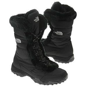The North Face Nuptse II Black Faux Fur Boot!